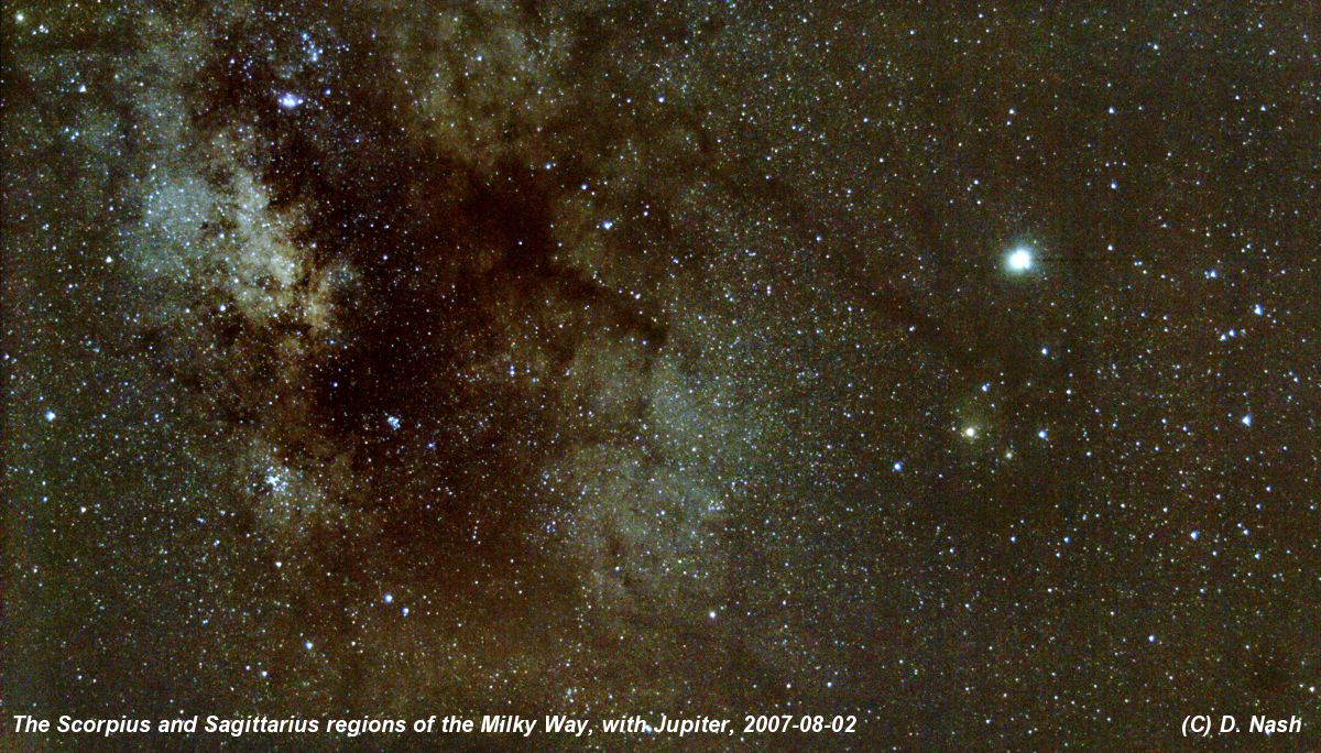 Scorpius and the Milky Way, with Jupiter, from Spain 2007-08-02